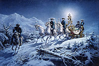 Painting of Ludwig II on a night-time sleigh ride by R. Wenig
