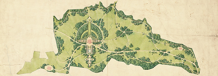 Plan of the Linderhof gardens and park by Carl Effner, c. 1874