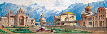 Picture: First Byzantine palace project, watercolour by Georg Dollmann