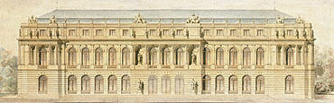 "Picture: Outline of the garden façade of ""Meicost-Ettal"", watercolour by Georg Dollmann"